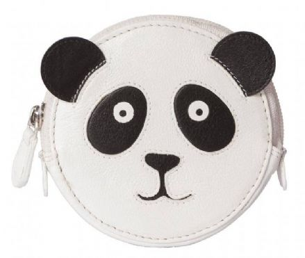 Pinky Panda Round White Leather Coin Purse